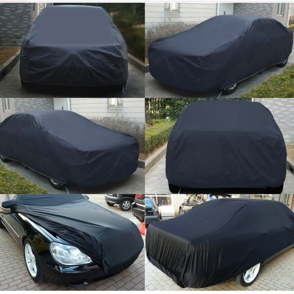 X Autohaux universel noir respirant imperméable tissu bâche de voiture w miroir poche hiver neige été complet voiture Protection couvre - 3