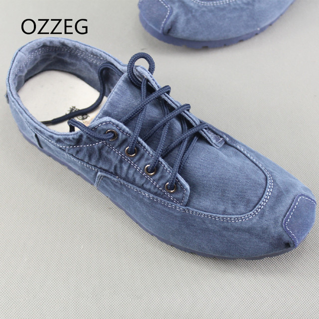 Hombre Casual zapatos mocasines suave Denim lienzo zapatos encaje cómodo hombres zapatos Primavera Verano Vintage étnica mocasines zapatos