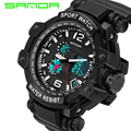 New SANDA Brand Men Outdoor Sport Watch LED Calender Dual Timezone Waterproof Digital Wristwatches Gift for Boys Girls Student