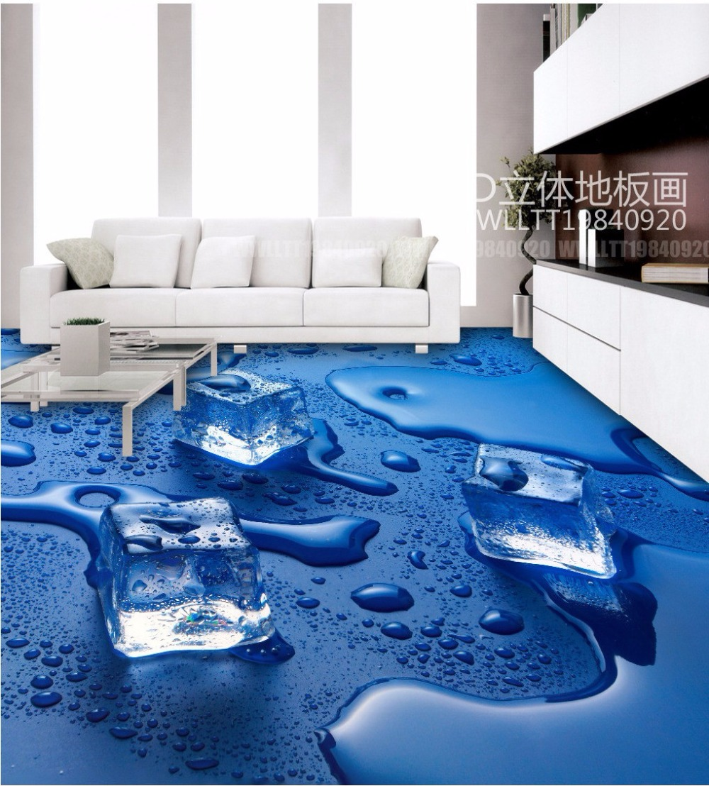 Free Shipping Ice cubes 3D floor tiles wear non slip waterproof ...