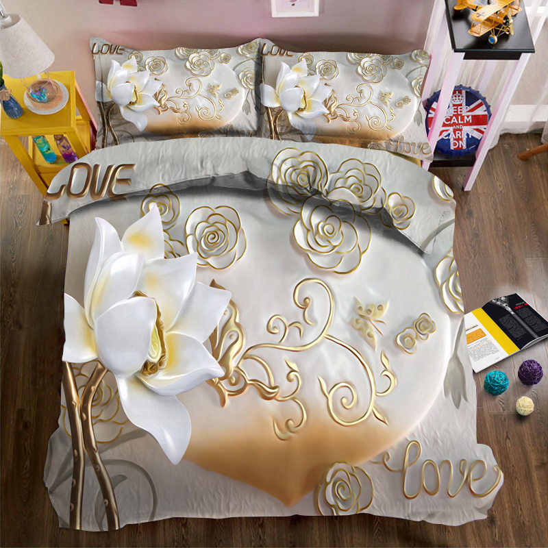 Apricot relief and three-dimensional jade carving lotus 3d effect photo bed linen can be customized photo pattern