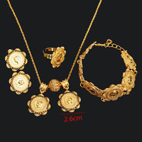 Bangrui New Arrival Coin Jewelry Sets Ethiopian Gold Coin Pendant Necklace Earrings Ring Bracelet Bridal Wedding