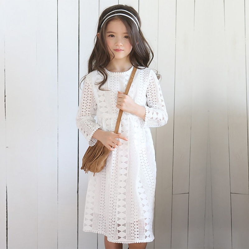 ФОТО New Arrival 2017 Spring Lace Dress Fashion Hollow Out Kids Long Sleeve Dress Baby Toddler Cotton Lining Dress,3-15Y