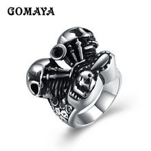 GOMAYA Funny Geometric Fashion Anillos Hombre Stainless Steel Ring Anillos Acero Inoxidable Mujer Wholesale