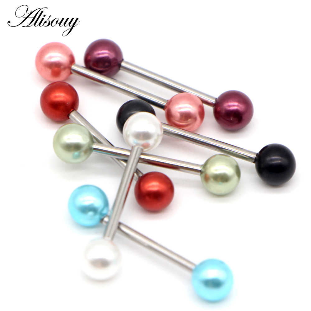 Alisouy 1 pieza de acero inoxidable pendiente de perlas de imitación Industrial Piercing mancuerna oreja Industrial anillos joyería del cuerpo Piercing