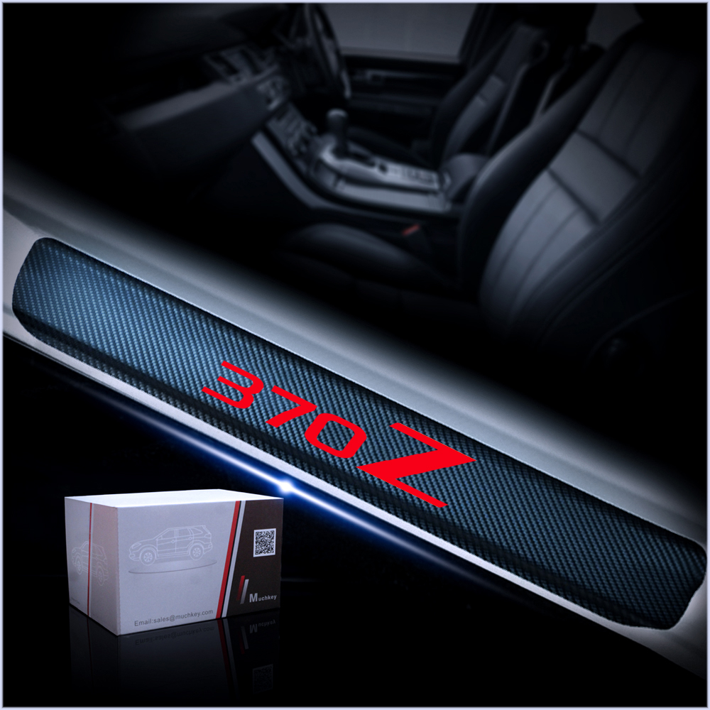 for Nissan 370Z Door Sill Protector Reflective 4D Carbon Fiber Sticker Door Entry Guard Door Sill Scuff Plate Stickers Auto Accessories 4Pcs White