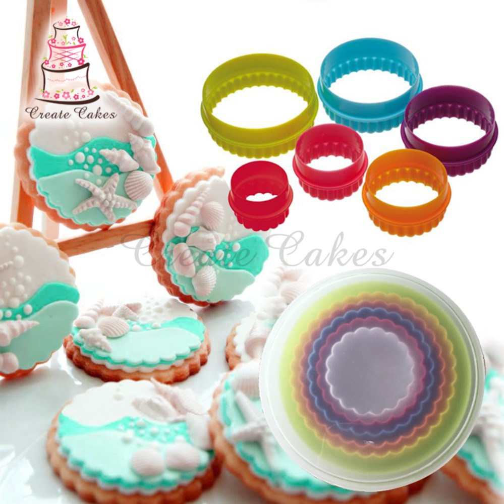 Cupcake Circle Shape Cookie Cutter Set Cupcake Mør Plast Plast Mould Cookie Cutter Kiks Stempel Cake Decorations Tool C163