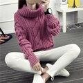 Hot Outono Inverno Mulheres Plait Camisola Grossa Solta Mais Casuais Tamanho Pullover camisola de Gola Alta Do Vintage Trança Grosso Moda Casaco de Malha
