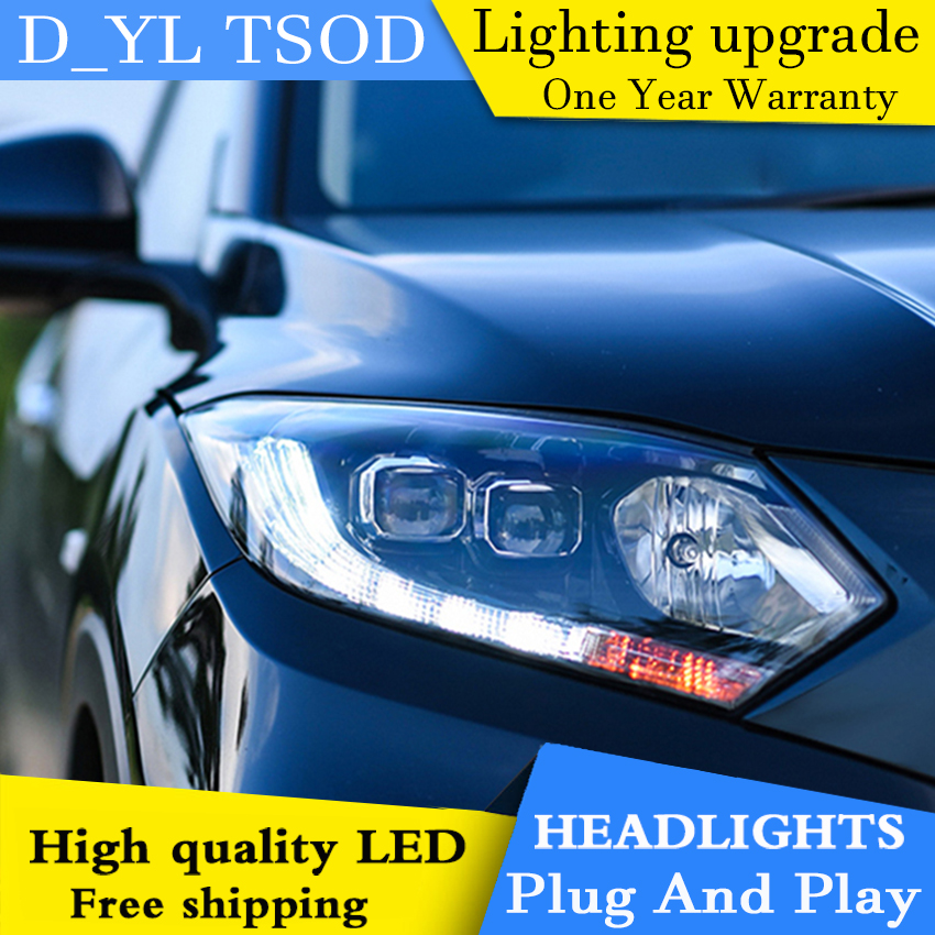 Car Styling For <font><b>honda</b></font> <font><b>HRV</b></font> <font><b>headlights</b></font> For VEZEL <font><b>HRV</b></font> LED head lamp Angel eye led DRL front light Bi-Xenon Lens xenon HID image