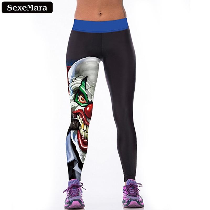 SexeMara High Quality Evil Clown Leggings Women Cartoon Casual Elastic Leggins  Skinny Comfortable Youth Fitness Pants F1518