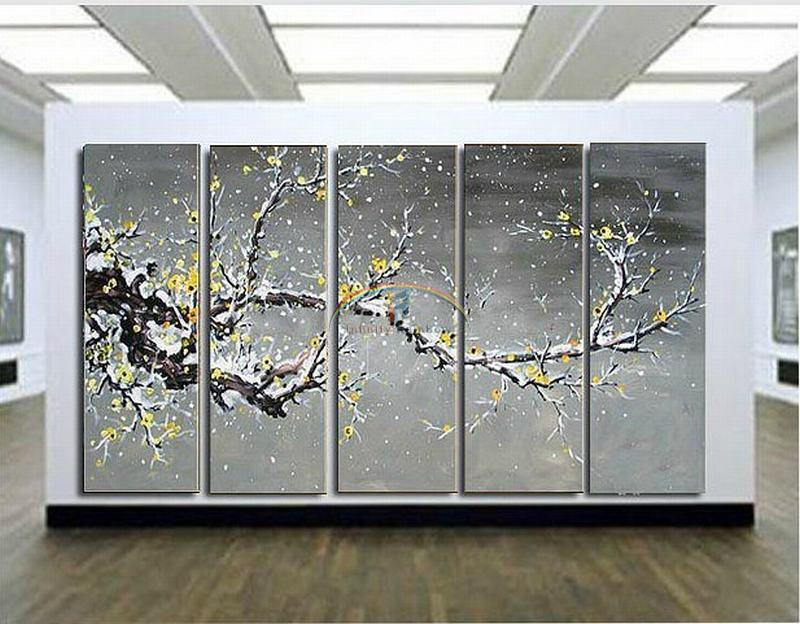 2016 Home Decor Real Picture Winter Huge Blossom Oil Painting Wall Art Hand painted Modern On