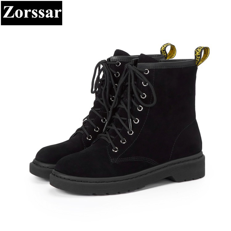 {Zorssar} 2018 NEW arrival comfort Low heel lace up short Boots Genuine leather women ankle Martin boots winter warm women shoes samool 2017 new arrival women boots lace up martin boots women ankle fur boots brand winter women shoes female high heel shoes page 9