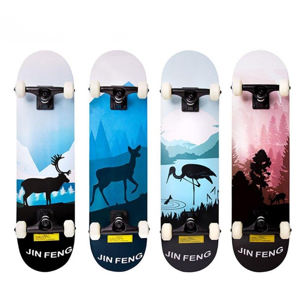 Dos pies descalzos doble patada completa Skateboard Cruiser 31 x 8 cubierta cóncava deportes extremos al aire libre tabla larga hoverboard