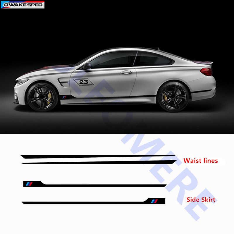 ///Sport Styling Pintu Mobil Sisi Rok Stiker Tubuh Disesuaikan Auto Garis Pinggang Strip Decal untuk BMW 1/2 /3/4/6/5 Series GT M3 M4
