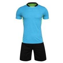 men's training short sleeve jersey breathable running sets sportswear soccer team football kits adult DIY logo good quality A15