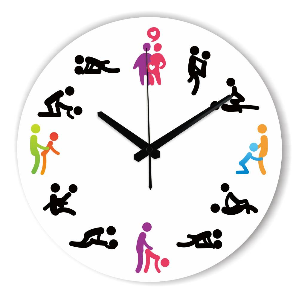 Modern Design <font><b>Sex</b></font> Position Mute <font><b>Wall</b></font> Clock For Bedroom <font><b>Wall</b></font> Decoration Silent Make Love Clock <font><b>Watch</b></font> Wedding Gift duvar saati image