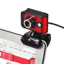 20 мага Пиксели USB 2.0 HD веб-3 LED Клип на веб-камера Встроенный микрофон настроить фокус красный веб- Камера для ПК Мониторы