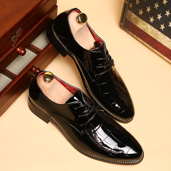 New WholePop Polished Patent Leather Men Oxfords Shoes Fashion Pointed Toe Lacing Office Career Dress Shoes For Men