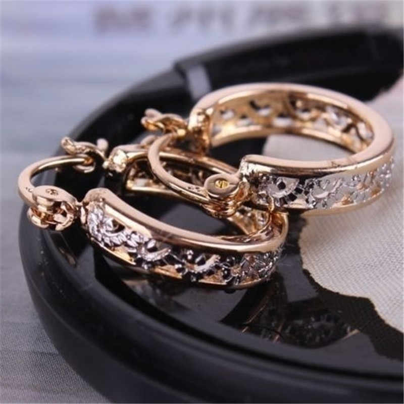 Elegant Hollow Earing Rose Gold Hoop Earrings for Women Jewelry Wedding Brincos Engagement Statement Earring Gifts Y30