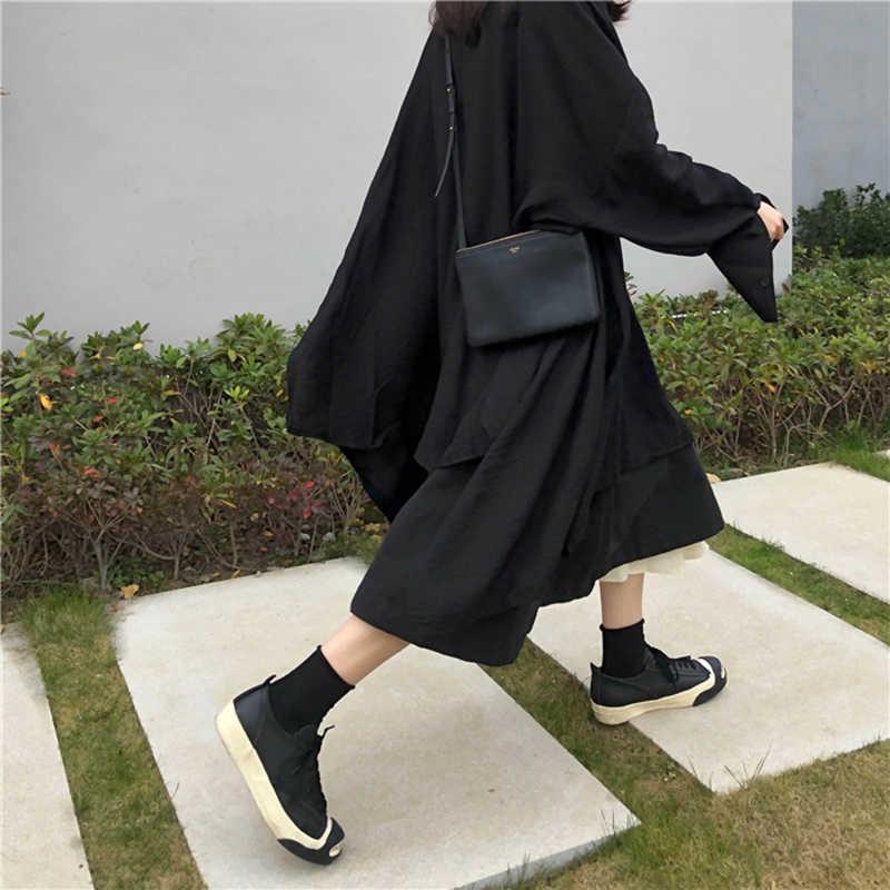 [EAM] женское платье-рубашка черного цвета с асимметричным подолом, новинка, с отворотом, с длинным рукавом, свободный крой, модная одежда, весна-осень 2019 JX299