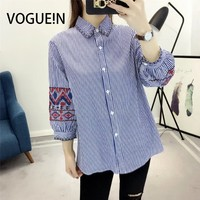 VOGUE N Womens Striped Print Floral Embroidered 3 4 Sleeve Button Down Shirt Blouse Tops Size