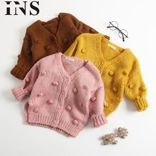 feb2bba4d 2018 new fashion Baby Kids Girl Child Winter Ball In Hand Down Sweater  Jacket Knit Tops Cardigan for children L1028