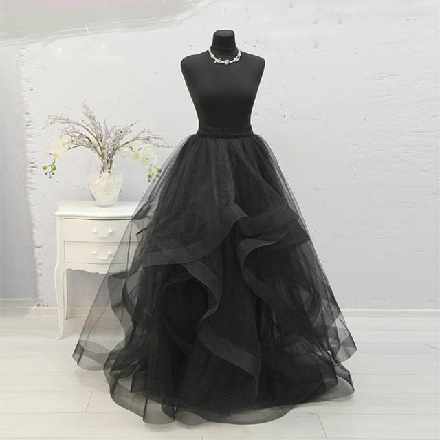 28403073118 Horsehair Black Wave Tulle Skirt for Women High Quality Engagement Black Tulle  Long Skirt Vintage Ball Gown Bridal Wedding Skirt