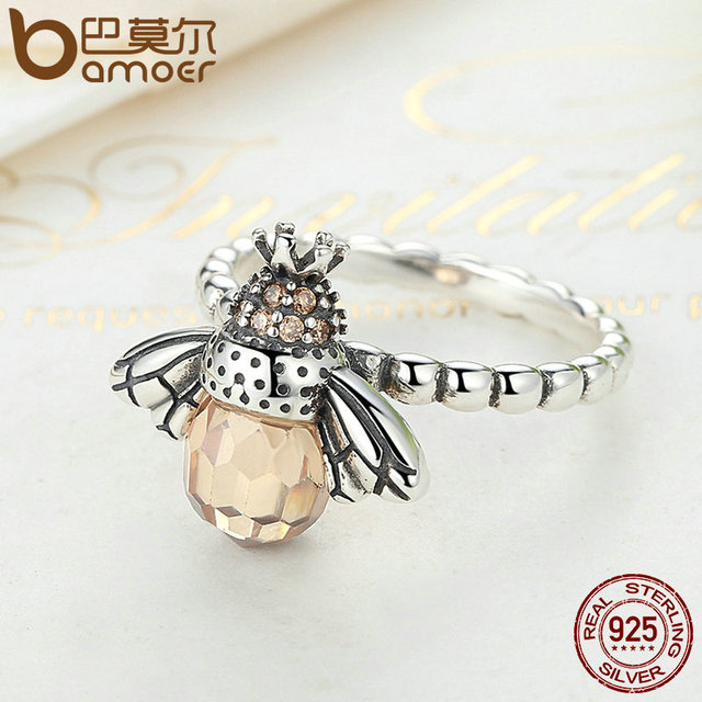 Sterling Silver Orange Wing Animal Bee Finger Ring