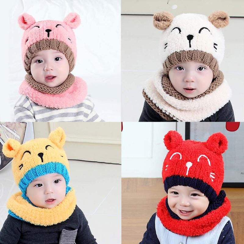 Winter Warm Baby Hats Beanies Cap Cute Cartoon Cat Hats Skullies Infant Boys Girls Hat Scarf Set Kids Children Knitted Hats Cap doubchow adults womens mens teenages kids boys girls cartoon animal hats cute brown bear plush winter warm cap with paws gloves page 7