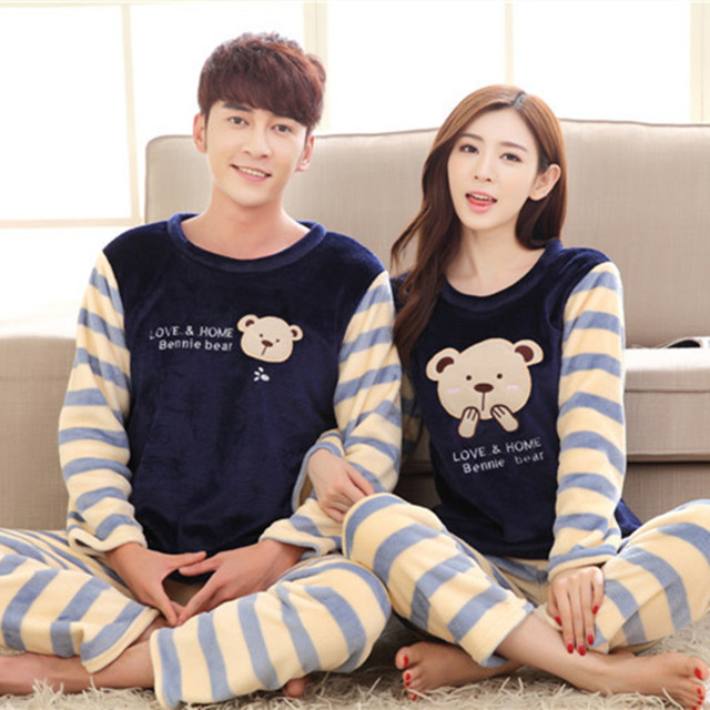 2016 Men Women Flannel Pajamas Couple Pyjama Suits Winter Garment Sleepwear Nightclothes Thick Christmas Gift Stripe Bear