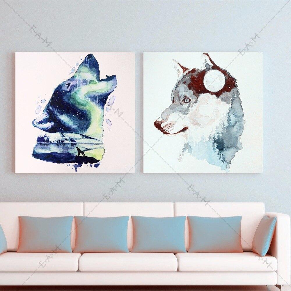 Splatter Wolf Aquarell Leinwand Kunstdruck Malerei Poster ...