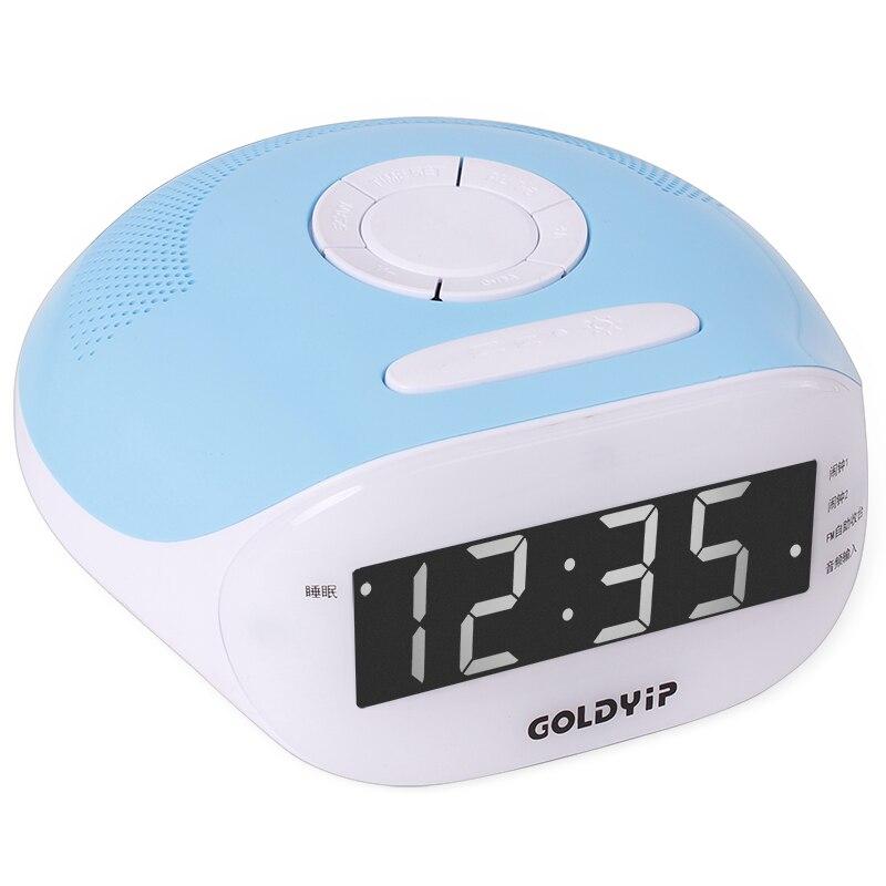 LED Radio Alarm Clock Digital Screen Dual Alarm Desktop Display Charge USB Electronic Bedside Audio input Radio
