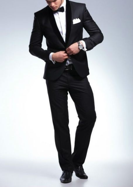 Elegant Groom S Wear Black Smoking Dinner Jacket Wedding Suits For Men Best Man 3 Peices Pants