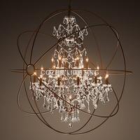 Vintage Crystal Chandelier Hanging Lighting Orb Globe Rustic Chandeliers Light for Living Dining Room Bedroom Restaurant Decor