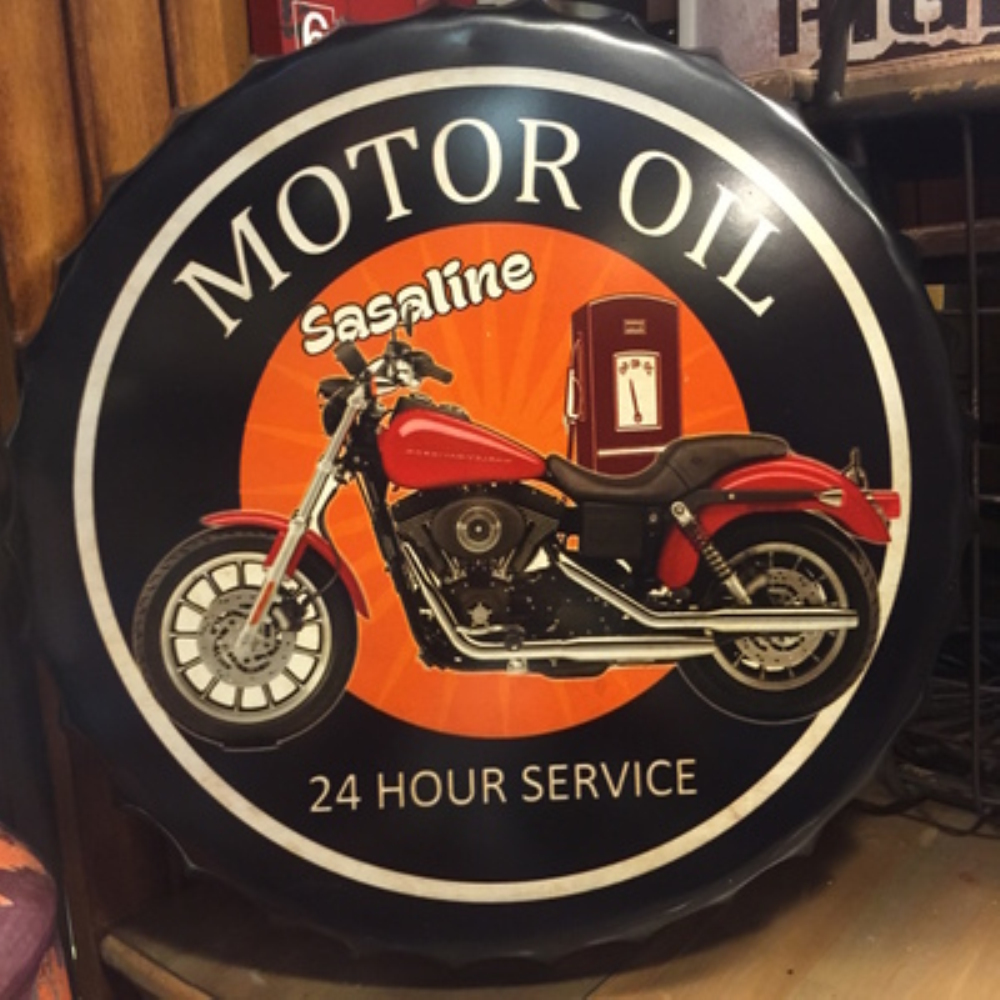 MOTOR OIL Large Beer Cover Tin Sign Logo Plaque Vintage Metal Painting Wall Sticker Iron Sign Board Decorative Plates 50X50 CM
