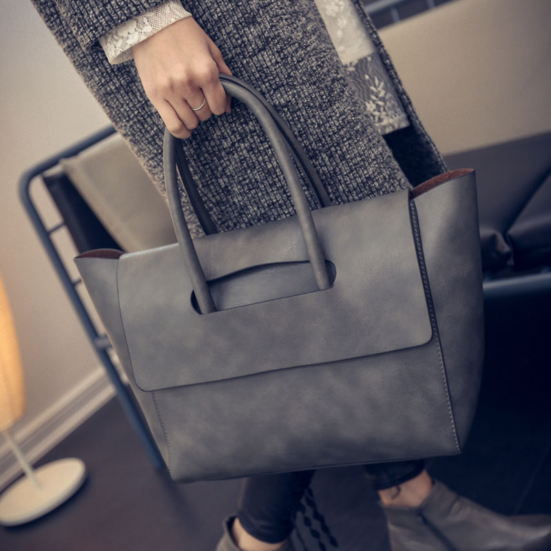 Fashion All-match Women Handbags Famous Brand Designer Women Big Bag Simple Vintage Solid Tote Bags 2017 High Quality Totes