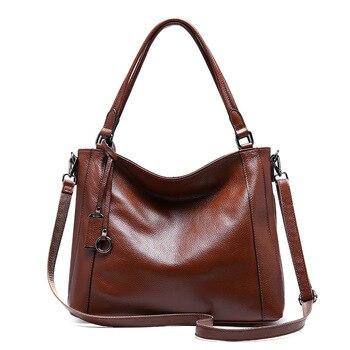 1076 New Fashion European and American Cowhide Leather Lady Handheld Single Shoulder Bag Women Handbag Totes