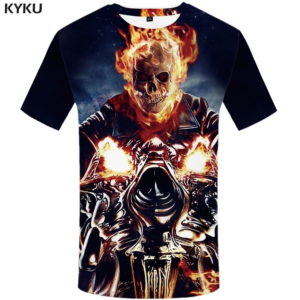f772991dc53 KYKU Skull T Shirt Men Motorcycle Tshirt Hip Hop Tee Fire 3d Printed Tshirt  Cool Funny