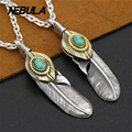VintageCopper inlaid turquoise eagle feather pendant 100% 925 sterling silver gift necklace pendant women & men fashion jewelry