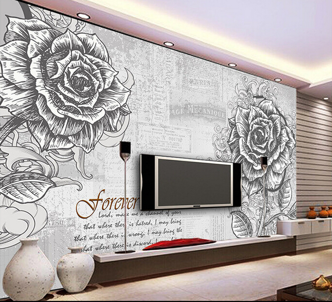 Custom vintage wallpaper, hand painted rose murals for the living room bedroom TV background wall waterproof wallpaper custom baby wallpaper snow white and the seven dwarfs bedroom for the children s room mural backdrop stereoscopic 3d
