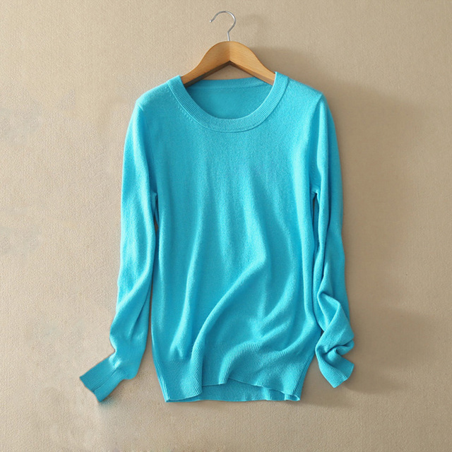 2017 Colorful Sweater Pure Cashmere Comfort Pullover Sweater O-neck Long Sleeve Solid Color Sweaters For Women Online Shopping