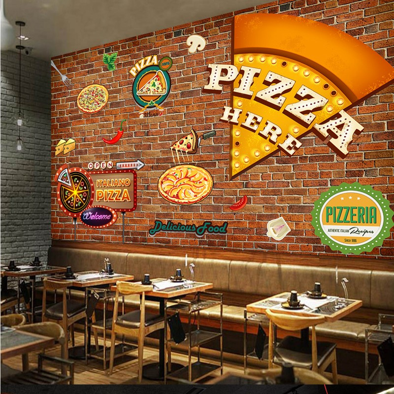 Custom Mural Retro Pizza Fresco Western Restaurant Brick Wall Graffiti  Wallpaper Tooling Background Wall Pizza Shop Mural In Wallpapers From Home  ...