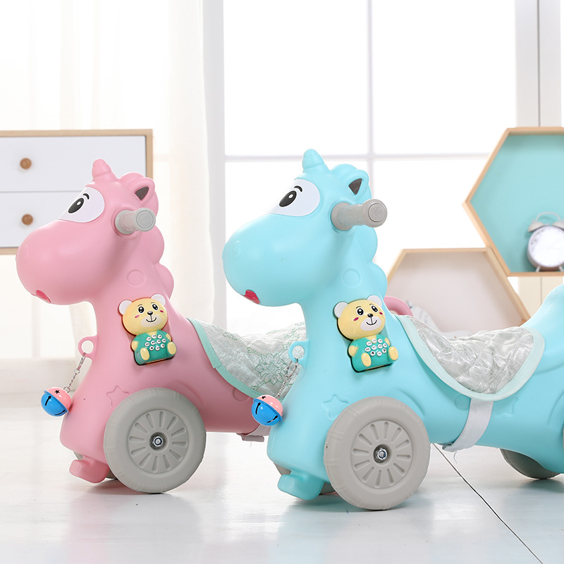 Baby rocking chair plastic belt music horse big size thickening children toy 1-3 year old ride on toys