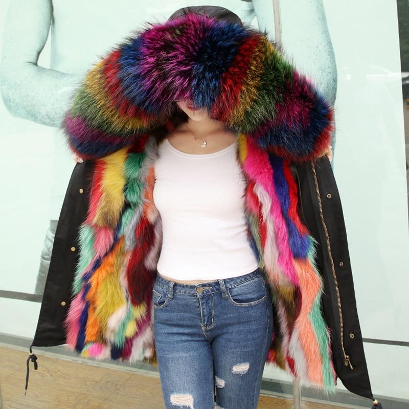 TREND Setter 2017 Winter Real Fur Jacket and Coat For Women Raccoon Fur Hood Jacket Casual Fur Lining Good quatily