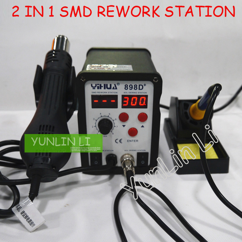 2 In 1 SMD Rework Station Industrial Digital Display Hot Wind Rework Station With High Power Heating Core YH-898D+2 In 1 SMD Rework Station Industrial Digital Display Hot Wind Rework Station With High Power Heating Core YH-898D+