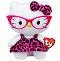 Ty Beanie Babies gato de peluche de color rosa empollón leopardo con gafas doll