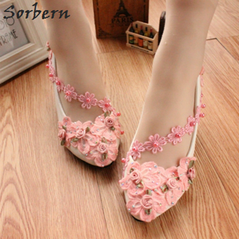Sorbern Pink Plum Blossom Chinese Embroidered Shoes For Women Kitten Heels Wedding Shoes Ladies Beaded Flowers Bridesmaid Shoes