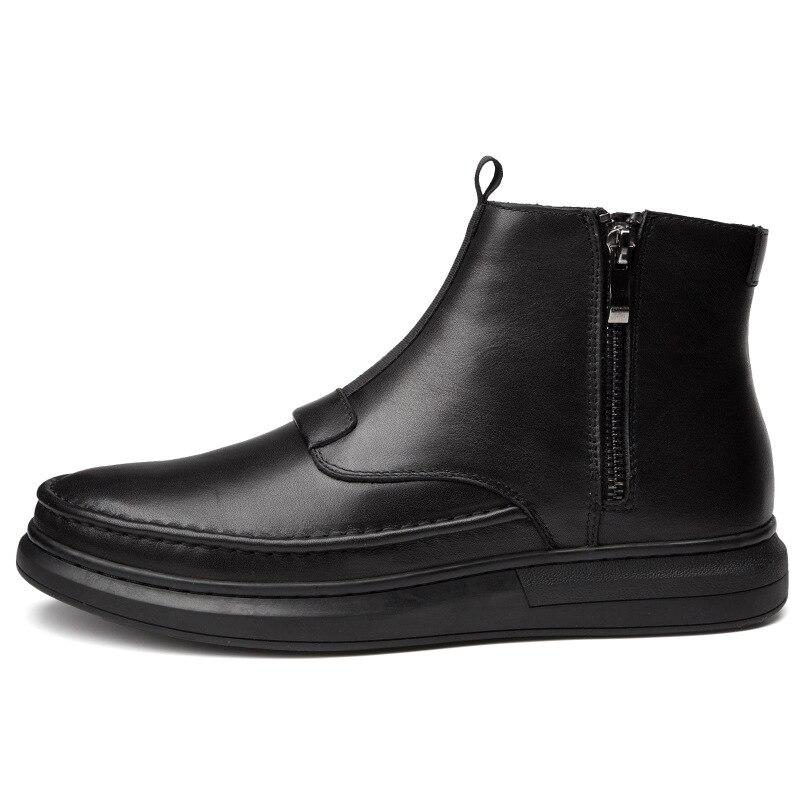 Véritable Cheville with Garder Fur Hiver En Appartements Au Hommes Footwear896 Slip Sur Chaud Main Noir Mode Neige Daigne Cuir Nouvelle Bottes De pzMVGSqU