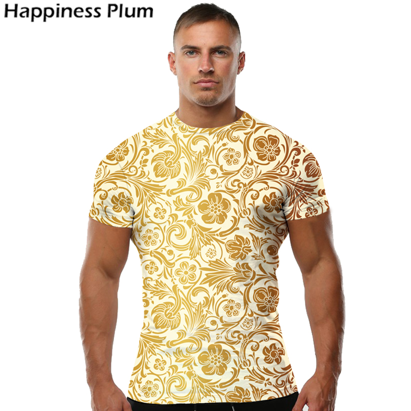 Luxury T Shirt Mens Gold Flower T Shirt Brand Clothing 3d