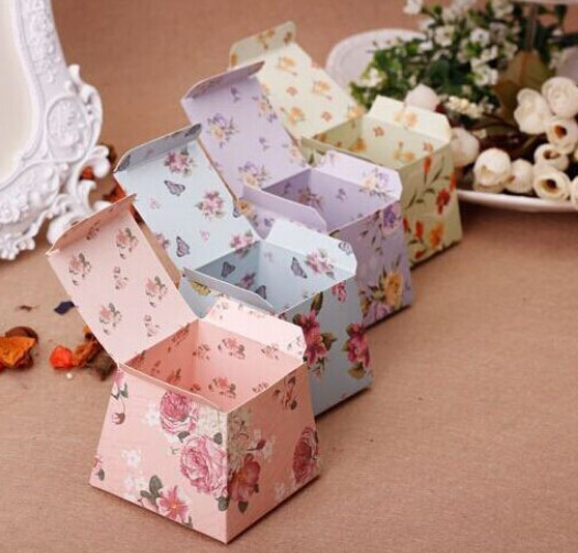 100 X Trapezoid Shape Style Fl Wedding Favors Chocolate Candy Bo Party Gifts Box